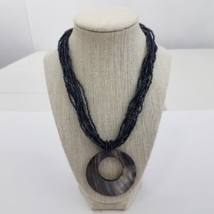 Jewelry - Mother Of Pearl Necklace Beaded Black Multi Strand